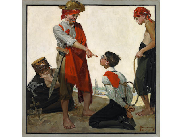 Norman Percevel Rockwell (1894-1978) Cousin Reginald Plays Pirates 30 x 30in