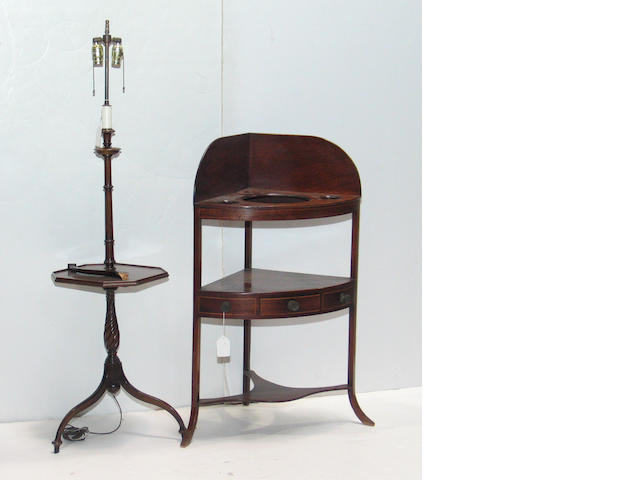 A George III style inlaid mahogany corner wash stand  together with a Regency style mahogany floor lamp