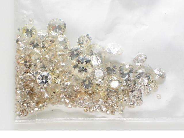 A collection of unmounted diamonds