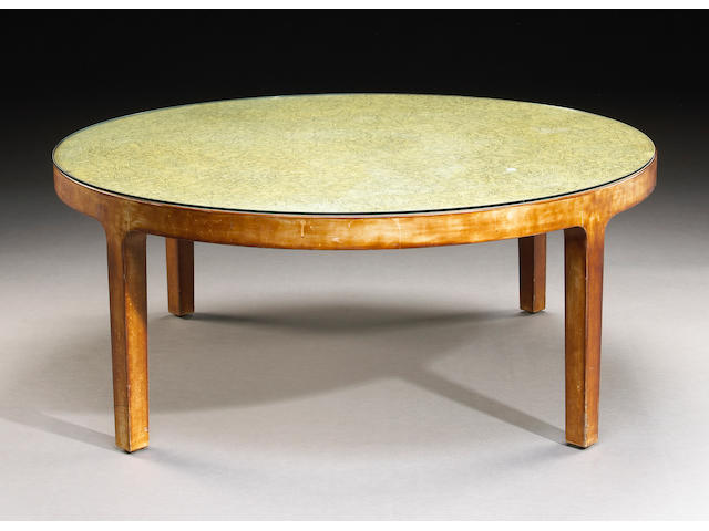 A Jean Dunand eggshell lacquer circular coffee table
