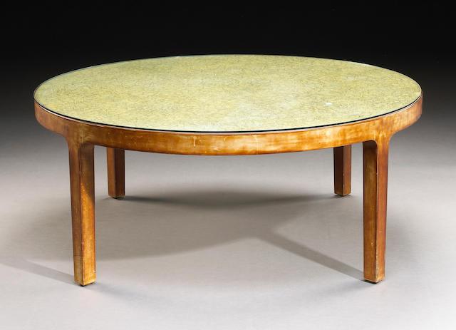 A Jean Dunand eggshell lacquer circular coffee table