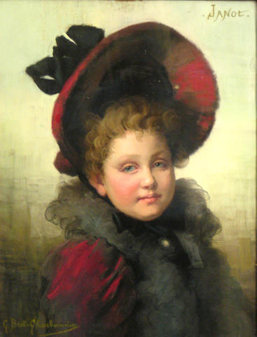 Claudia Julia Bret-Charbonnier (French 1863-1951) A portrait of a young girl in a red hat sight 20 1/2 x 16 1/4in
