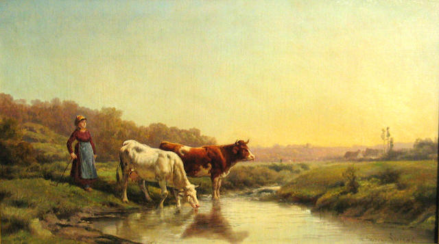 Théodore Lévigne (French 1848-1912) A girl tending cattle by a stream 14 3/4 x 26in
