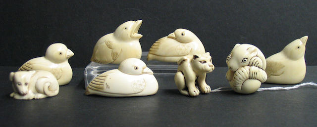Thirteen ivory netsuke animal studies