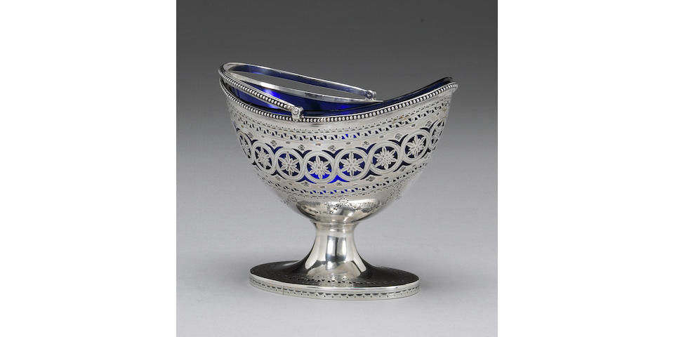 George III Silver Sugar Basket with Cobalt Glass Fitting by Hester Bateman
