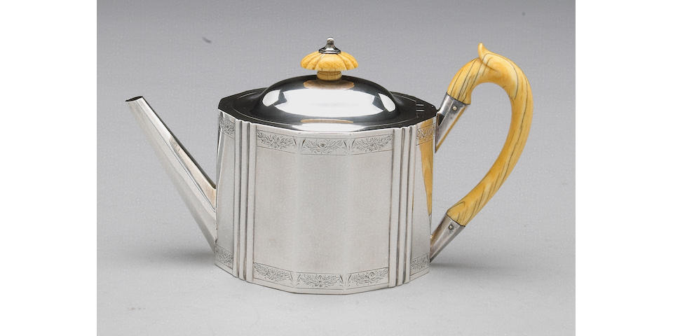 George III Silver and Ivory Teapot by Hester Bateman