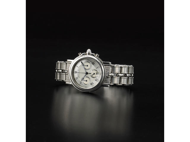 Breguet. A fine and rare platinum self-winding chronograph bracelet watch with dateMarine, Ref.3460, No.2044, sold in 2000