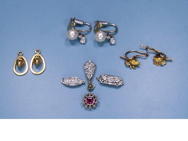 A group of gold and gem-set jewelry