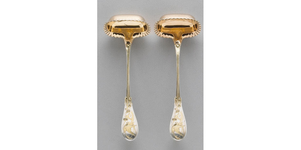 Pair of Parcel-Gilt Sterling Audubon Gravy Ladles by Tiffany & Co.