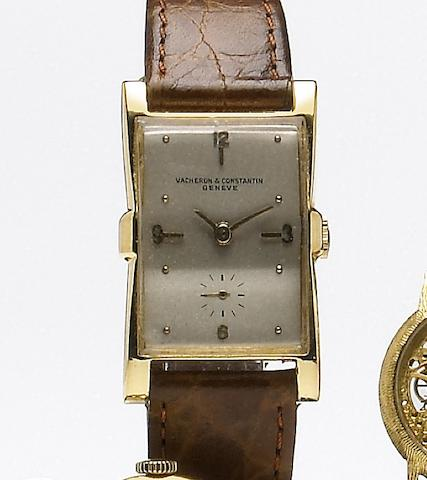 Vacheron & Constantin. An 18k gold flared rectangular wristwatch Case No.328255, Movement No.485446, circa 1948