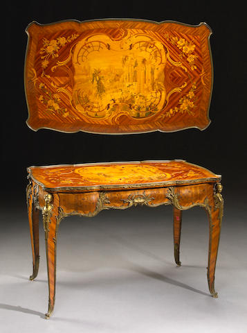 A fine Louis XV style gilt bronze mounted marquetry table