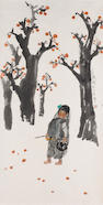 Nie Ou (Born 1948): Girl under fruit trees, hanging scroll