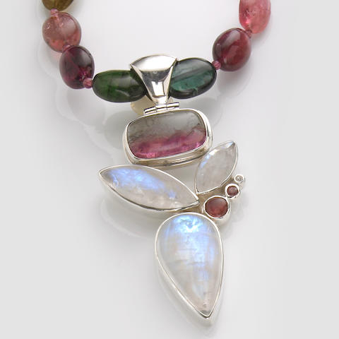 Rubellite and Multi-color Tourmaline and Moonstone Necklace