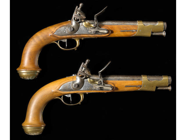 A brace of French Model 1814 Garde du Corps du Roi flintlock pistols
