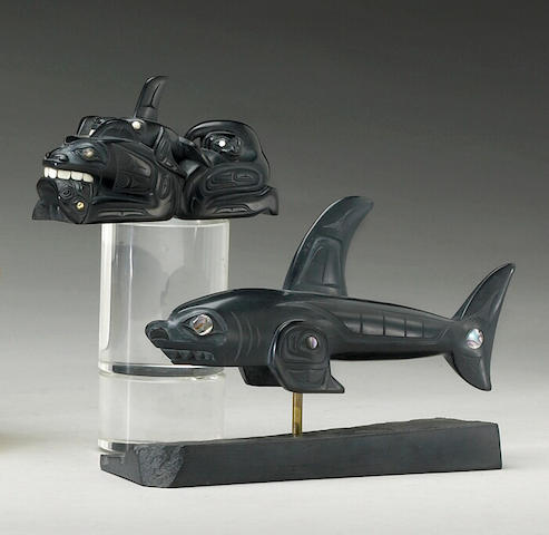 Two Haida argillite carvings, Glen Pollard