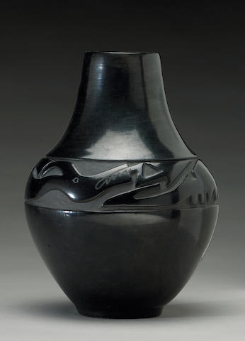 A Santa Clara carved blackware jar, Margaret Tafoya