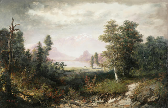 Henry Boese (1824-1863) Expansive Landscape with Deer in the Distance 30 x 46in