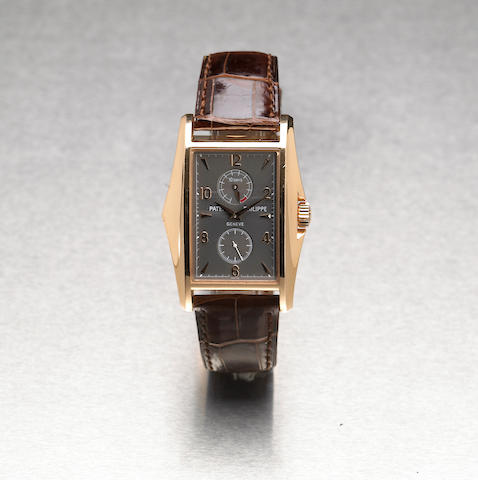 Patek Philippe. A fine and rare 18k pink gold limited edition rectangular wristwatch with 10-day power reserve Ref.5100, Case No.4124292, Movement No.3201966, made in 2000