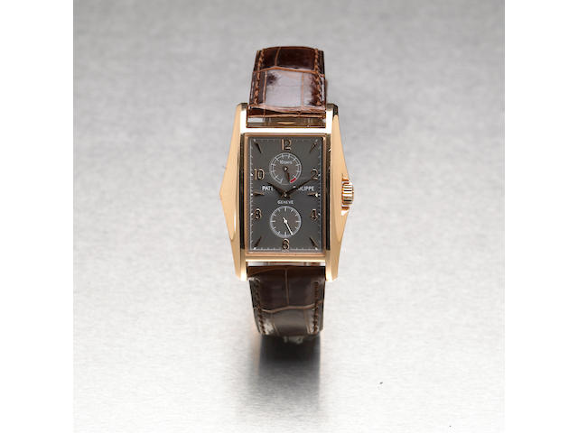 Patek Philippe. A fine and rare 18k pink gold limited edition rectangular wristwatch with 10-day power reserveRef.5100, Case No.4124292, Movement No.3201966, made in 2000