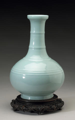 A fine ru-type glazed long neck vase Six-character Yongzheng seal mark and of the Period