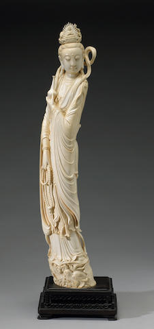 A large pieced ivory Guanyin