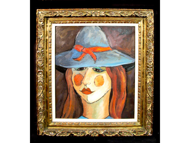 Philippe Marchand (French 20th century) Girl in a Blue Hat 20 x 16in