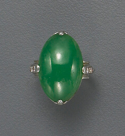 An art deco jadeite jade, diamond and platinum ring,