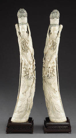 A  pair of large carved ivory figures of Guanyin