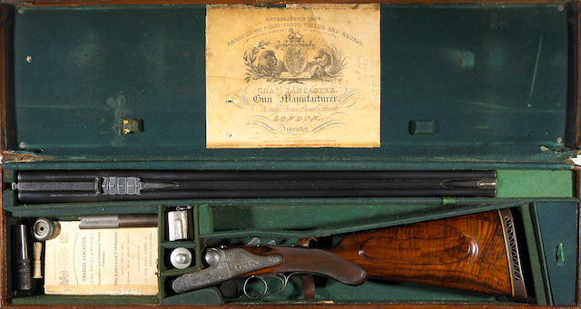 A .375 Charles Lancaster sidelock ejector double rifle owned by Elmer Keith (for 1903).