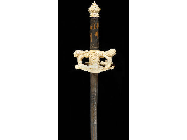 A fine ivory-hilted Continental small sword in the style of the 3rd quarter, 17th century