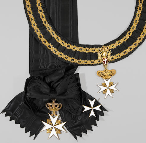 A set of insignia of a Bailiff Grand Cross of the Sovereign Military Order of Malta