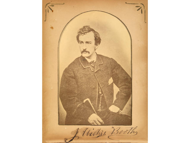 BOOTH JOHN WILKES.  Photograph signed. Framed.