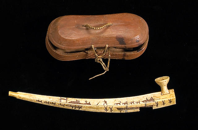 Two Eskimo items: pipe and box