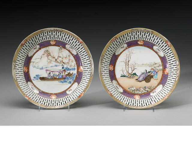 A pair of 'Rockefeller pattern' export porcelain berry dishes Late Qianlong Period