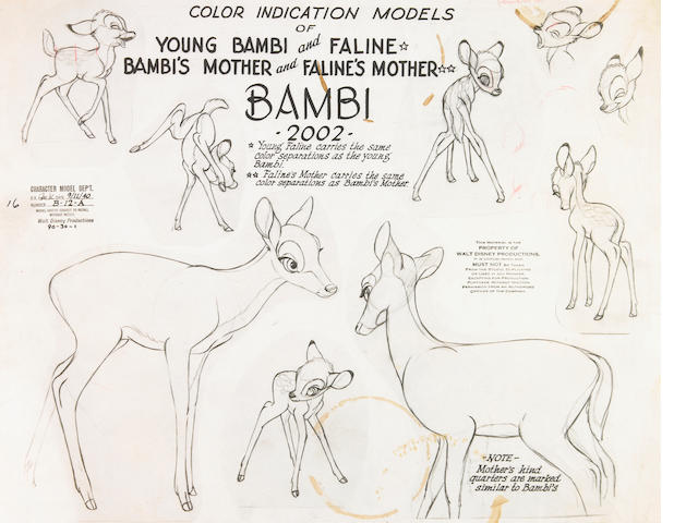 "Two Walt Disney photostats model sheets from ""Bambi"" and ""Dumbo"""