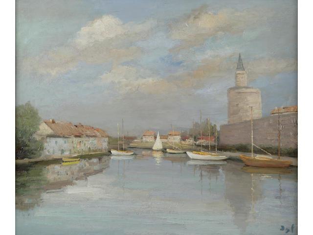 Marcel Dyf (French 1899-1985) Canal du Rhône devant les Ramparts 24 z 28 3/4in (60 x 73cm)