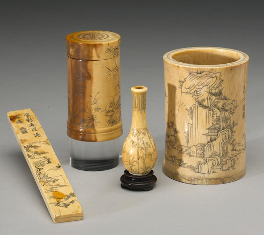 Four ivory scholars' objects with incised decoration 19th Century