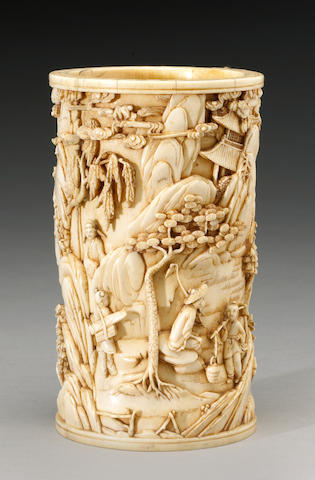 A well carved ivory brush pot 19th Century