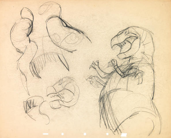 "Two Walt Disney drawings from ""Fantasia"""