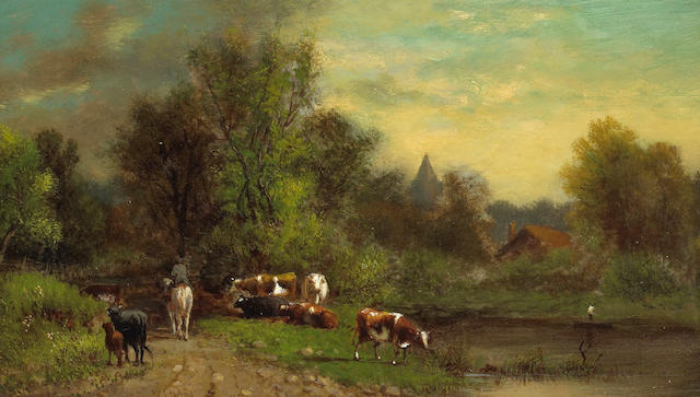 William Hart (1823-1894) A Man on Horseback with Cattle Nearby 8 x 14in