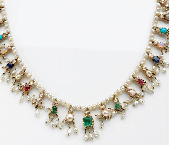 A gem-set, pearl, gold and silver necklace