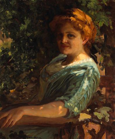 Jean Mannheim (1863-1945) A Portrait of a Lady in her Garden 30 x 25in