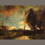 Charles Appel Sunset in a Wooded Meadow oil on canvas