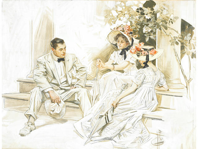 Joseph C. Leyendecker (1874-1951) Lady with Parasol, Caught in the Act of the Plan, and The Wedding: