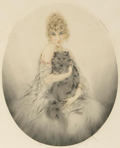 Louis Icart; Persian Cat;