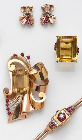 A collection of retro citrine, ruby, diamond and fourteen karat gold jewelry