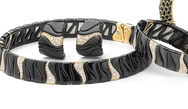 A suite of diamond and eighteen karat blackened and yellow gold jewelry, Marina B.