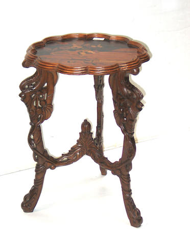 A pair of Art Nouveau style inlaid walnut tables