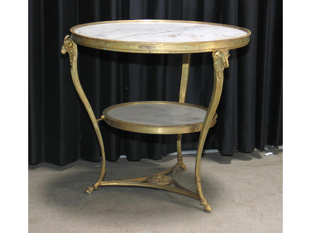 A pair of Louis XV style gilt bronze  and marble center tables