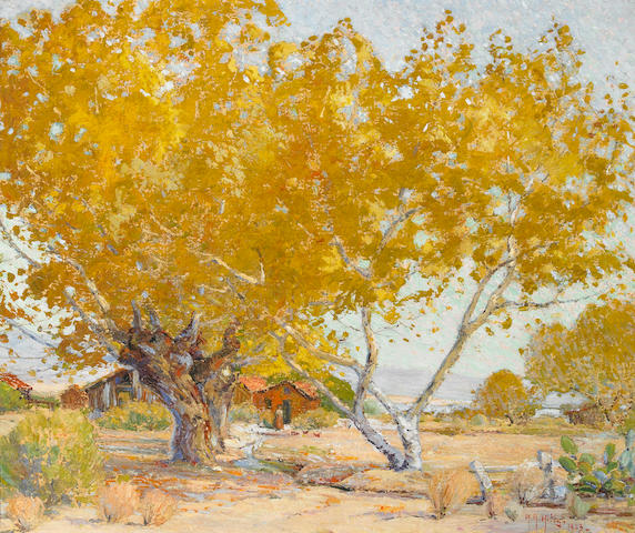 Anna Althea Hills (1882-1930) Desert Gold, Palm Springs, 1923 20 x 24in